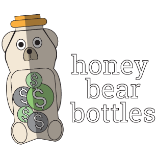 "image may contain: honey bear bottle with depiction of coins inside with ""honey bear bottles"""